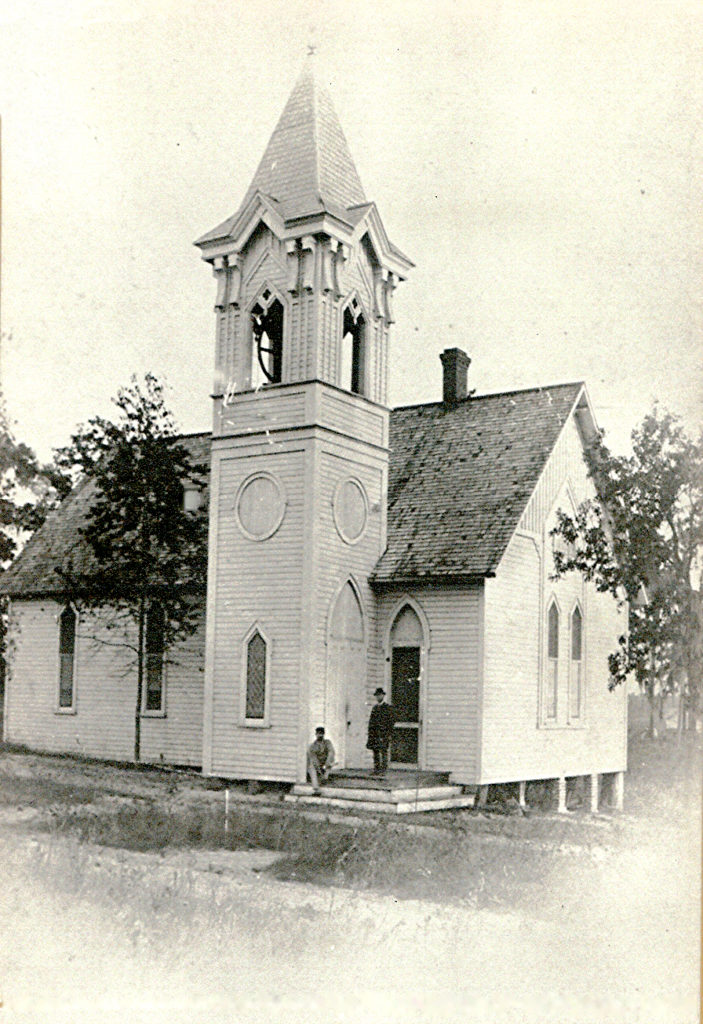 The earliest photo of our first Sanctuary (1885), built on the corner of Baker St. and 5th Avenue.